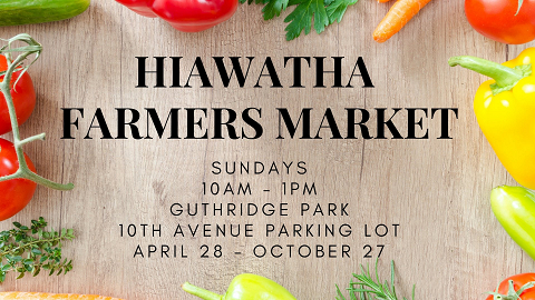 <p>August Markets Cancelled due to Storm Damage!<br /> Will resume in September. Hiawatha Farmers Market brings the taste of Iowa Producers to you.</p>