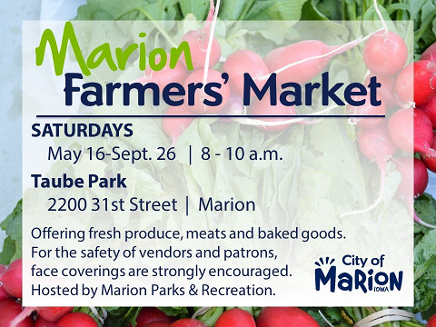<p>Weekly farmers' market hosted by the Marion Parks & Recreation Department in Taube Park.</p>